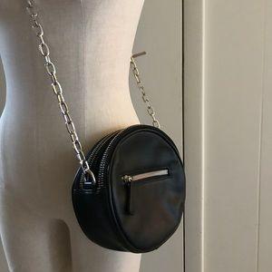 Black round crossbody purse